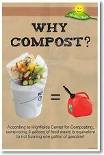 Why Compost - Save Gasoline! NEW Healthy Planet Ecology Recycling Reduce POSTER