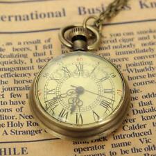 Vintage Relojes Bolsillo Cuarzo Watch Antiguo Bronce Cadena Colgante Collar Moda