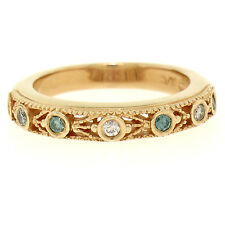14K Rose Gold 0.14ctw Burnish White & Blue Diamond Open Work Milgrain Band Ring