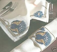 Art Nouveau Lotus Napkin and Napkin Ring Cross Stitch Kit DMC 14 Count