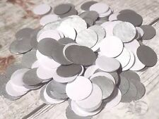 1000 Handmade Tissue Paper Circle Confetti Metallic Silver White Wedding
