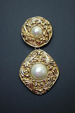 """Vintage Authentic Coco Chanel Mabe Pearl Dangle Brooch Pin 3 1/4"""" Long"""