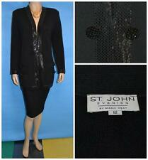 ST JOHN EVENING KNIT BLACK Suit JACKET XL L 12 14 Blazer RHINESTONES Paillettes
