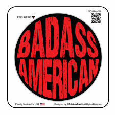 """BADASS AMERICAN V1 circle (2 Pack)Hard Hat Printed Sticker (size: 2"""" color:B/R)"""