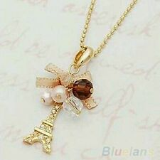 Hot Eiffel Tower Pendant With Necklace Golden Plated Chain