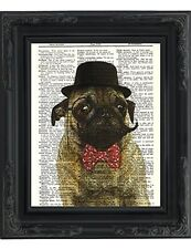 Dictionary Art Print - Sir Pug Moustache and Bow Tie- Printed on Recycled Vintag