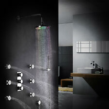 Wall Mount LED Rain Shower Handheld Shower System & 6 Bodysprays Jet Valve Set