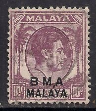 MALAYA 1945 - 48 KGV1 10ct PURPLE British Military admin ovpt. (C95 )