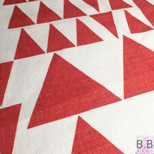 Retro Scandinavian geometric red triangles fabric remnant 35x35cm Marimekko