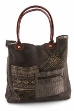 "Mona B Tribal Patch Recycled Canvas & Leather Tote Bag 16""x16"" 10"" Drop Handles"
