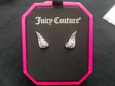 NIB Juicy Couture New Genuine Silver Plated Angel Wings Earrings (Pierced)