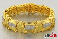 14K Gold Plated Mens Simulated Diamond Bracelet Big Chunky Link Iced Out Cross