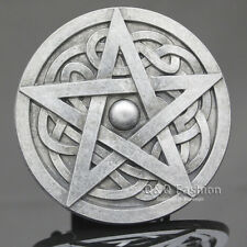 Western Men Silver Celtic Trinity Knot Pentacle Star Rodeo Belt Buckle Wicca