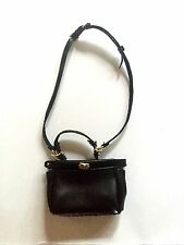 New Barbie Silkstone Classic Camel Coat Barbie black faux leather purse handbag