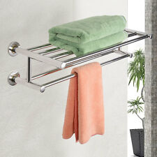 Wall Mounted Towel Rack Bathroom Hotel Rail Holder Storage Shelf Stainless
