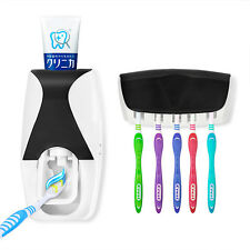 New  Automatic Toothpaste Dispenser + 5 Toothbrush Holder Set Wall Mount Stand%
