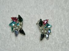 Vintage B. David Silvertone Multicolored Rhinestone Faux Pearl Clip On Earrings