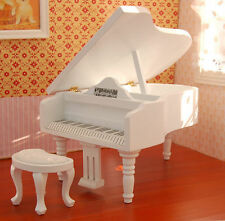 1:12 dollhouse miniature piano white grand piano Puppenhaus