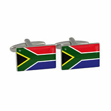 One Pair Silver Novelty Cufflinks South Africa Flag & Gift Velvet Pouch T03A2