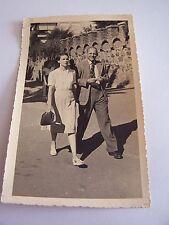 Vintage Photo Man & Woman Walking Along Fashion Handbag Suit