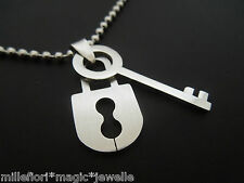 "40mm Stainless Steel Lock & Key Pendant With 30"" Stainless Steel Ball Chain"