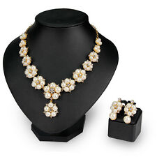 Elegant Lady Alloy Pearl Rhinestone Flower Shape Necklace Earrings Jewellery Set