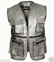 BLACK Mens Real Leather Gilet Biker Cut Waistcoat Vest  Hunting Most Sizes