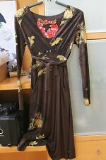 DESIGUAL WOMEN CASUAL DRESS Size M brown-yellow MADE IN SPAIN V NECK