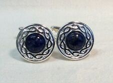 LAPIS LAZULI Cufflinks with Celtic style pattern, Silver finish.