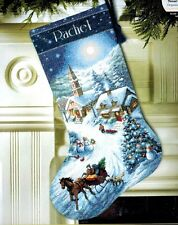 Christmas Stocking Counted Cross Stitch Kit Sleigh Ride at Dusk Dimensions Gold