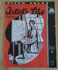Artist's Life by Johann Straus Piano Solo 1940 Sheet Music