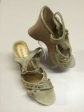 "GUESS GOLD ANKLE STRAP 4"" WEDGE HEELS W/ SEQUINS SHOE SIZE 8.5 NWOB"