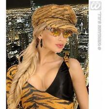Tiger Print Cap Hat Retro Jungle Animal Big Cat Fancy Dress Accessory
