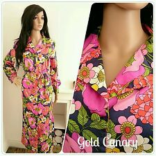 Vintage 60s 70s Cotton Pink Flower Power Boho Dressing Gown House Robe 10 12 38