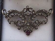 Antique tested silver mine cut diamond french brooch/pendant