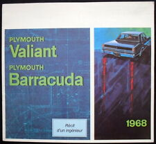 PLYMOUTH VALIANT & BARRACUDA SALES BROCHURE 1968 (CANADA, FRENCH TEXT) #VF-68/21