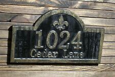 Fleur De Lis Address Sign Antique Brass Finished Wood Custom Carved