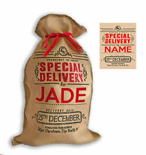 "Personalised Hessian "" Special Delivery "" Santa Christmas Present Sack"