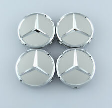 4Pcs 75mm Silver Mercedes Benz Car Sticker Emblem Wheel Center Hub Cap Cover