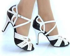 New Women Black&White Latin Salsa Ballroom Tango Bachata Dance Shoes ALLSIZE