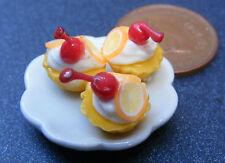 1:12 Cerámica Placa De 3 Naranja Cup Cakes Casa de muñecas en miniatura accesorios Pl31