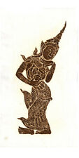 "Thai Temple Rubbing - Brown - Dancing Girl - 12"" x 24"" - Original         1205BR"