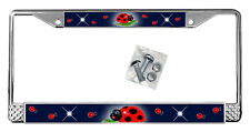 Ladybugs Dark Blue License Plate Frame Personalize Gifts Polished Metal Add Text