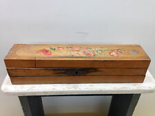 Vintage Slide & Swivel Wooden Pencil Box Floral Pattern Top 3 Part Wood Tray