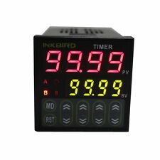 Inkbird IDT-E2RH 110-240V Digital Twin Timer Time cycle Delay two period 2 relay