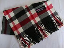 100% Cashmere Winter Scarf Scarve Scotland Warm Plaid Black Red Wrap Shawl NEW
