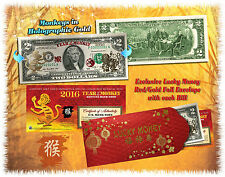 24KT GOLD 2016 Chinese Lunar New Year * YEAR OF THE MONKEY * $2 Bill LUCKY MONEY