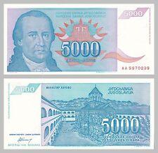 Jugoslawien / Yugoslavia 5000 Dinara 1994 p141a unz.