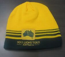 2013 LIONS TOUR AUSTRALIA GOLD WALLABIES STRIPED RUGBY PATCH CLOTH BEANIE
