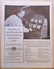 1942 magazine ad for Chevrolet Service - mechanic & motor tester, best service